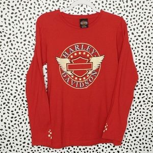 Harley-Davidson Long Sleeve Red Graphic T-shirt